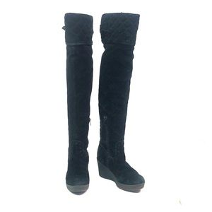 Black Leather Juicy Couture Thigh High wedge Boots
